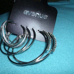 3 pr hoops new rhinestone sparkles